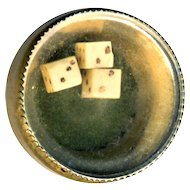 Cuff Button or Stud--Mid-19th C. Gambler's Dice Under Glass in Brass