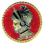 Button--Large Fin-de-siecle Guilloche Enamel & Secessionist Warrior Woman