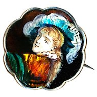 Brooch--Small Fine Limoges Enamel Renaissance Boy on Silver