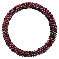 Bracelet--Vintage Flexible Bangle of Tiny Rhodolite Garnet Beads