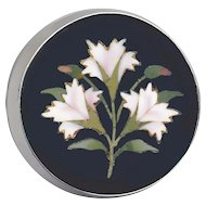 Button--Late 19th C. Pietra Dura (Stone Inlay) Pale Pink Carnations in Sterling Silver