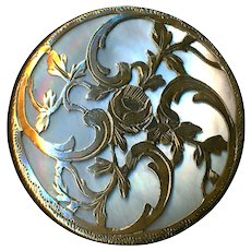 Button--Large Late 19th c. Engraved Brass Rose in Rococo Scrolls on Pearl
