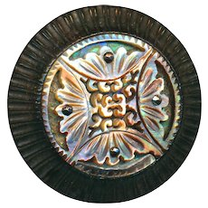 Button--Very Large 19th C. Compound Ajoure Pearl on Abalone in Carved Wood