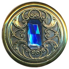 Button--Large Late 19th or Early 20th C. Water Blue Glass Jewel in Brass