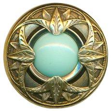 Button--Large Late 19th C. Pale Aqua Glass Jewel in Brass Nile Lotus Motif Paris Back
