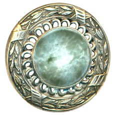 Button--Large Late 19th C. Silvered Brass and Art Glass Milky Aquamarine Jewel