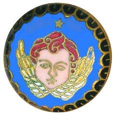 Button---Late 19th C. Champleve Enamel Winged Angel or Cherub Head--Medium