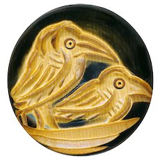 Button---Extra Large Vintage 1930s Carved Pyralin Ivoroid Birds