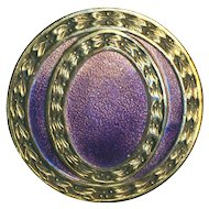 Button--Large Vintage Hombre Fade Enamel on Brass in Pink to Deep Lavender