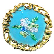 Button--Late 19th C. Rococo Brass & Embedded Foil Enamel Flowers Medium