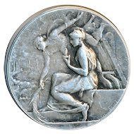 Button--Art Nouveau Nymphs by French Henry Dropsy Sterling Silver Medallion