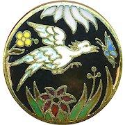 Button--Medium Size Champleve Enamel Bird & Butterfly