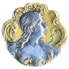 Button--Medium Late 19th C. Parcel Gilt Silver Plated Art Nouveau Brass Nymph