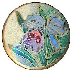 Button--Modern Green Tinged Satsuma Pottery Lavender Orchid--Medium