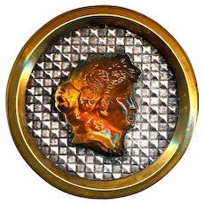 Button ~ Large Mid-19th C. Victorian Golden Glass Jewel Cameo on Silver Foil in Brass
