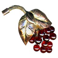 Brooch--Large Vintage Brass Leaves & Ruby Red Glass Berries