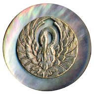 Button ~ Very Large 19th C. Iridescent Pearl with Brass Escutcheon Crane or Stork