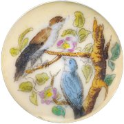 Button---Large Mid-19th C. Hand Tinted Transfer Song Birds in Foliage on Ivory-hue Porcelain