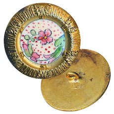 "Button--Late 19th C. ""Deep Dish"" Hand Painted Enamel Floral in Brass"
