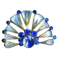 Brooch--Very Lovely Vintage Poured Glass Moonstone & Blue Rhinestone Fan