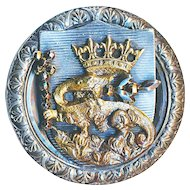 Button--19th C. Extra Large Francis the First Royal Salamander with Brilliant Cut Steels