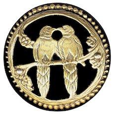 Button---Large--Former Clasp Vintage Black Bakelite Love Birds in Brass Overlay