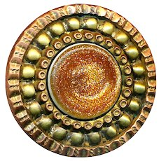Button--Mid-19th C. Sheet Overlay Glass in Copper & Brass--Medium