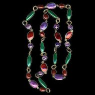 Necklace--Long 30 Inch Vintage French Fine Quality Poured Glass and Gripoix Beads in Brass
