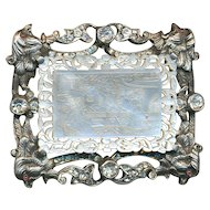 Brooch--Unique 19th C. Hand Made Heavy Sterling Silver Ruby-eyed Chinese Pheasants and Engraved Pearl
