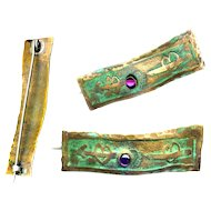 Brooch--ONE Western NY Arts & Crafts Wavy Verdigris Brass & Amethyst Bar Pin