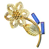 Brooch--Filigree Gold-plated Brass Flower with Sapphire Blue Glass Buds--No Marks