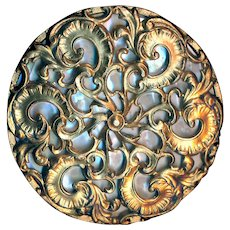 Button--Very Large 19th C. Elegant Rococo Brass Filigree Over Iridescent Pearl