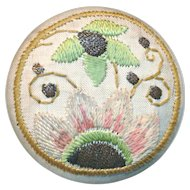 Button--Late 19th C. Large Embroidery on Linen Art Nouveau Design