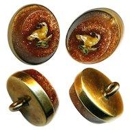 Button--ONE Mid-19th C. Micromosaic Yellow Bird--Aventurine Glass in Gold Waistcoat