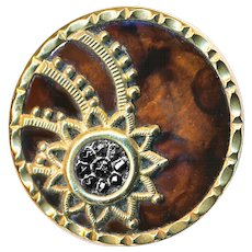 Button--Halley's Comet--Late 19th C. Celluloid Faux Tortoiseshell, Luster Black Glass, & Brass