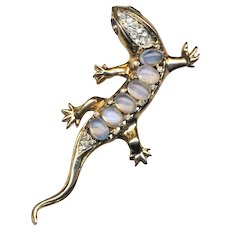 Brooch--Vintage Coro Heavy Sterling Silver and Glass Moonstone Salamander