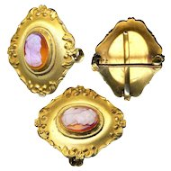 Brooch--Late 19th C. Hard Stone Cameo in Gold-plated Brass Watch or Pendant Pin