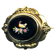 Brooch--Medium Size Mid-19th C. Roman Micromosaic Bird in Flowers