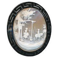 Brooch--Large Jet and Shell Cameo--Mid-19th C.--Greek Key or Fret Border