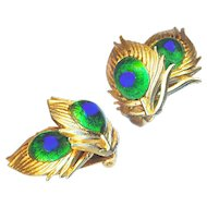 Earrings--Vintage Signed Hattie Carnegie Peacock Eye Jewels in Feathers