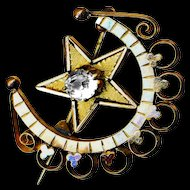 Brooch--Late 19th C. 2-tone Gold-plated Crescent Moon with Bright Glass Star