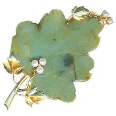 Brooch--Very Large Vintage 18 Karat Gold, Jade, and Pearl Leaf