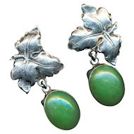 Earrings--Vintage Sterling Silver Leaves & Jade Drops