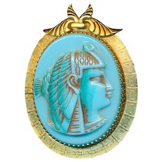 Brooch--Very Large Vintage Turquoise Glass Neo-Egyptian Whiting and Davis