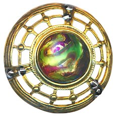 Button--Very Large Gay Ninety Jewel Art Glass Marvered with Metal