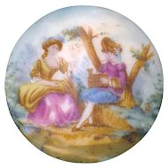 Button--Late 19th C. Transfer on Porcelain Pastoral Scene of Man & Woman
