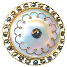Button---Large Late 19th C. Open Edge Brass, Cut Steel, and Iridescent Pearl