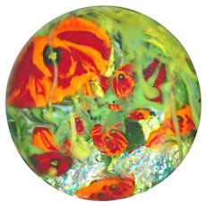 Button--Modern Glass Paperweight Poppies--Medium