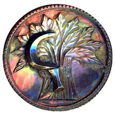 Button ~ Large Antique Cameo Carved Iridescent Dark Pearl Sheafs of Wheat & Mirror Bright Cut Steel Scythe