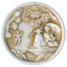 Button---Very Large 19th C. Ivory & Sepia Hued Glass of Asian Ladies in Boat